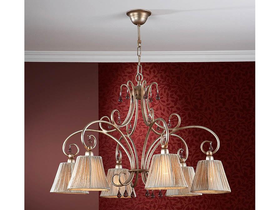 Salma Pendant Lamp 6L Large Silver Golden aged + lampshade fabric fruncida