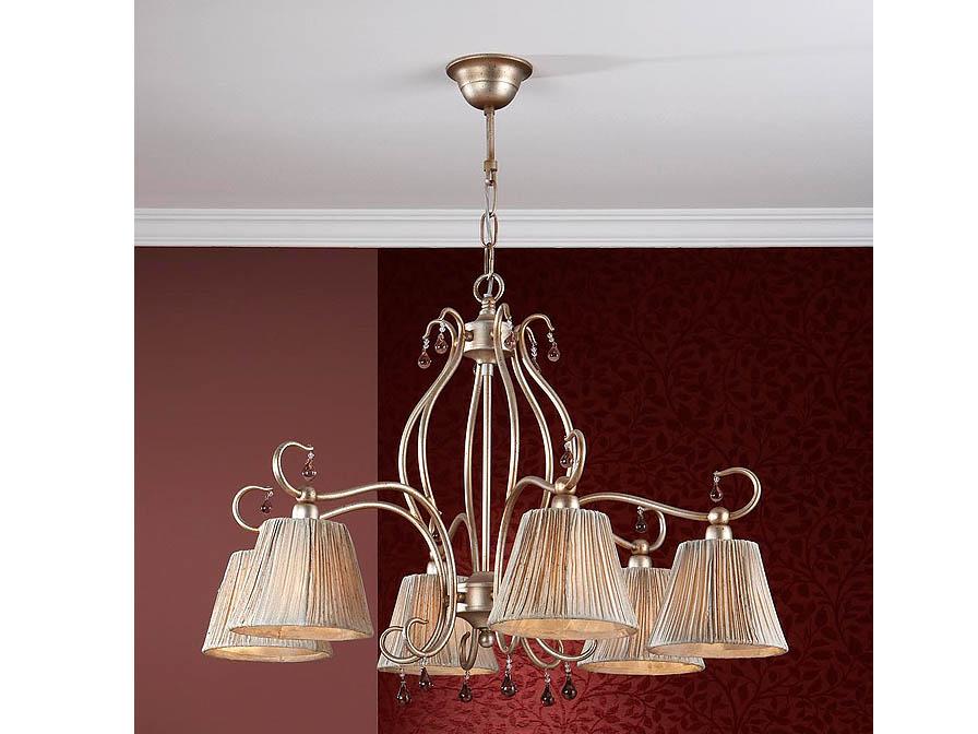 Salma Pendant Lamp 6L Small Silver Golden aged + lampshade fabric fruncida