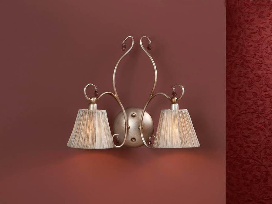 Salma Wall Lamp 2L Silver Golden aged + lampshade fabric fruncida