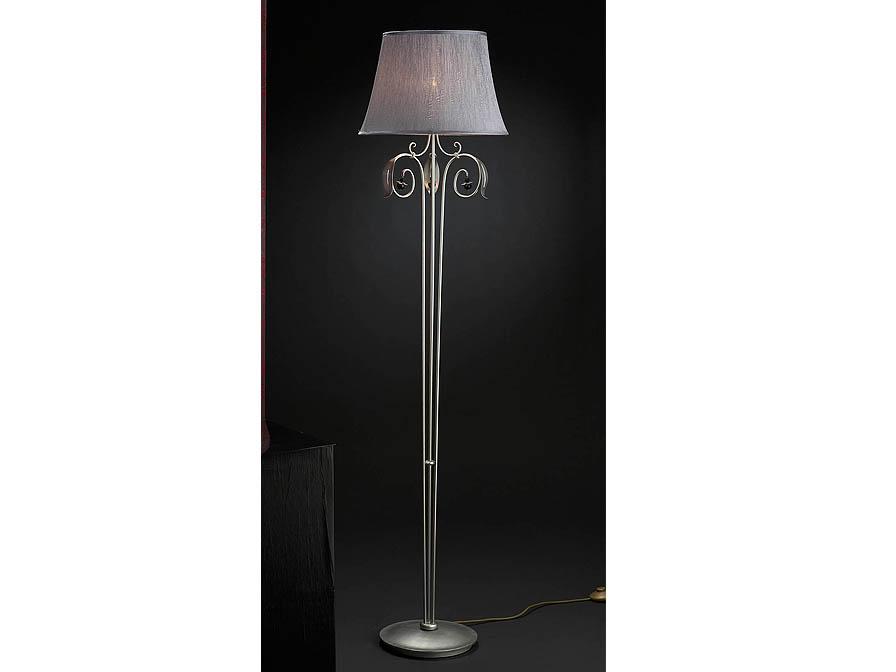 Etna lámpara de Lampadaire 1L Argent + abat-jour sedosa fruncida