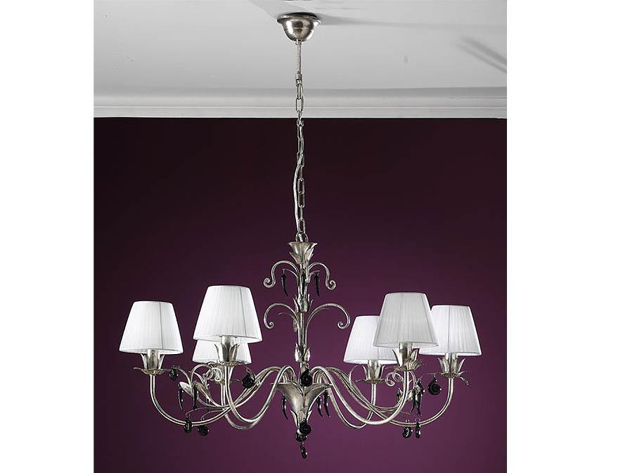 Dalia Pendant Lamp 6L Silver aged/ trinkets Black