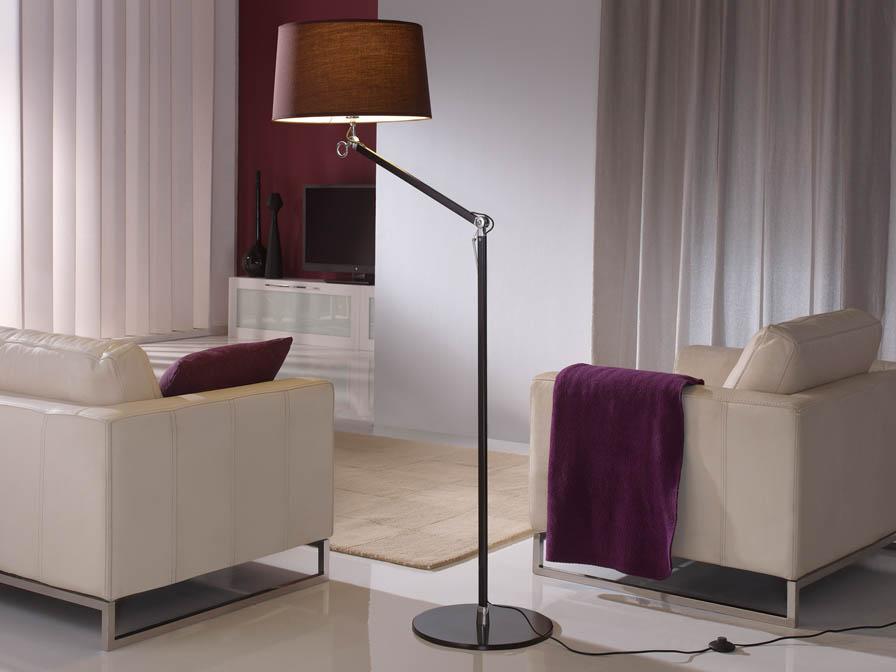 Atlas lámpara de Lampadaire 1L Aluminium Noir + abat-jour Brun