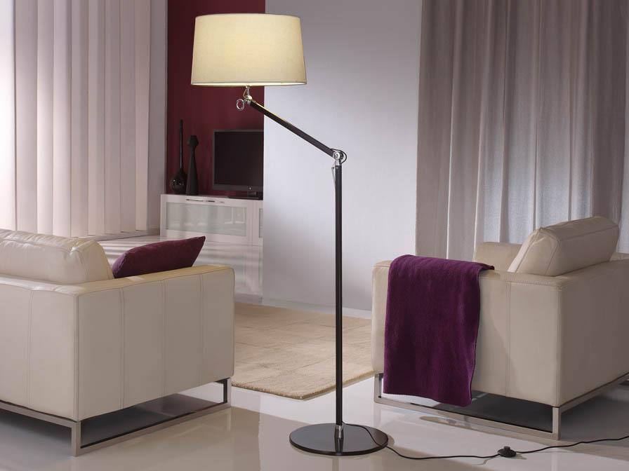 Atlas lámpara de Lampadaire 1L Aluminium Noir + abat-jour Brut