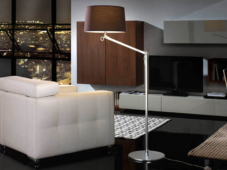 Atlas lámpara de Lampadaire 1L Aluminium Anodisé + abat-jour Brun