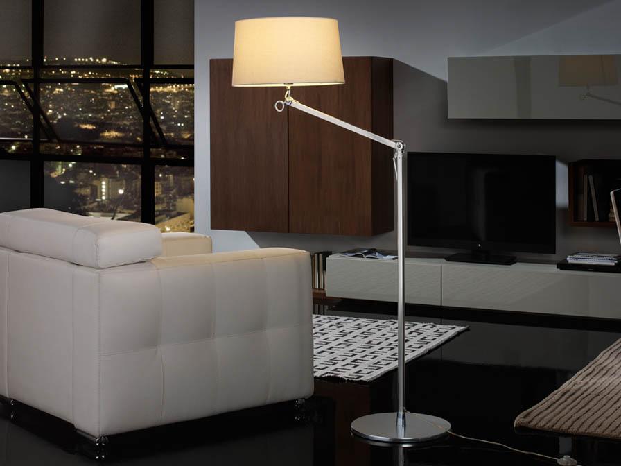 Atlas lámpara de Lampadaire 1L Aluminium Anodisé + abat-jour Brut