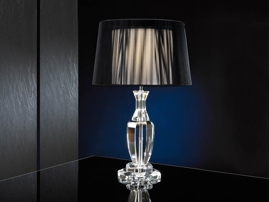 Corinto Table Lamp Doble LED 60W black lampshade/Transparent
