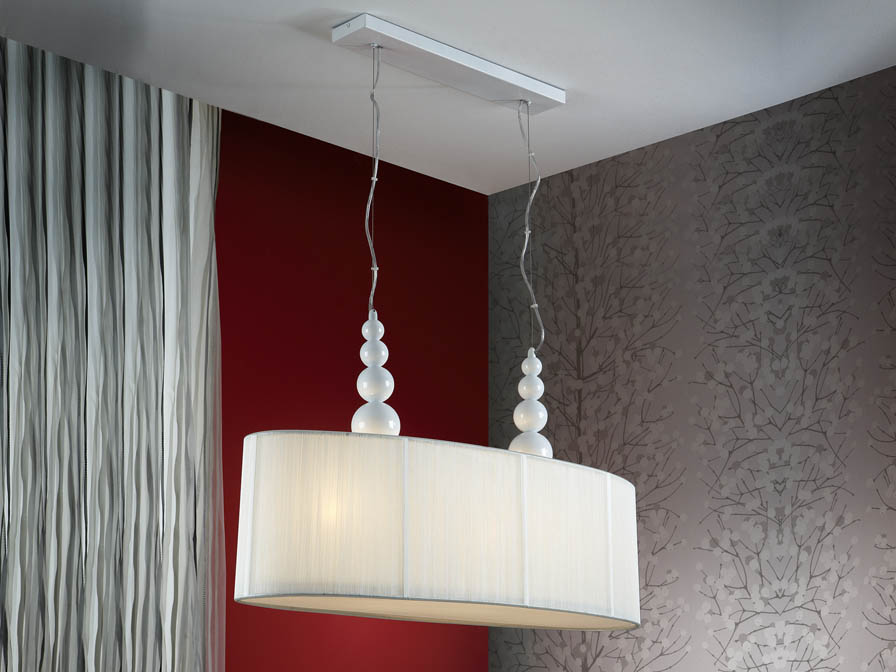 Mercury Pendant Lamp Doble 4L white + lampshade Hilo Tensado white