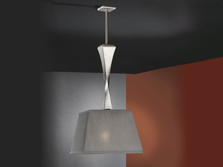 Deco Pendant Lamp metal/Wood + lampshade Silver