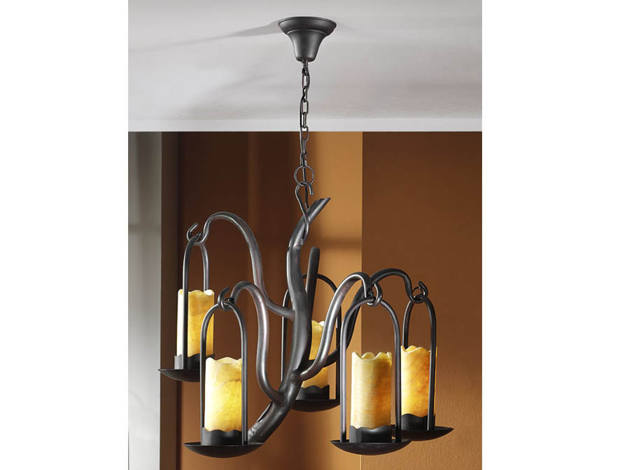 Candela Pendant Lamp 5L Brown Oxide