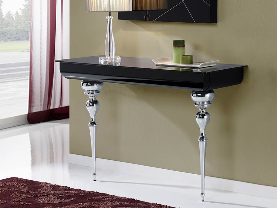 Clarice console white + legs Chrome/Glass