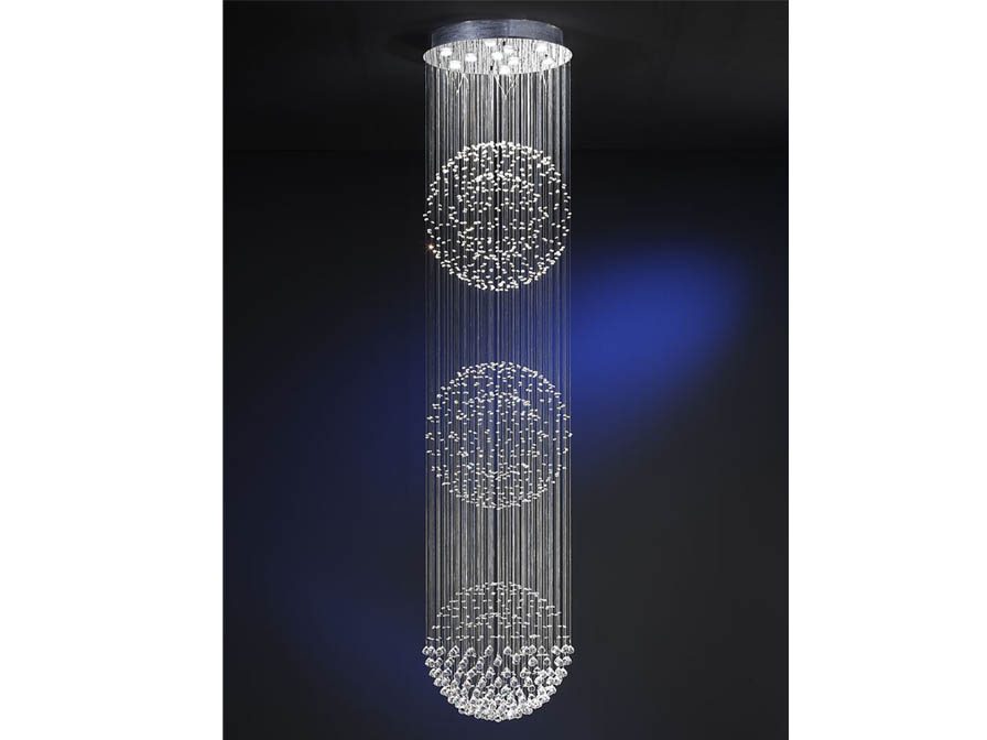 Estratos Suspension 3 Balles 10x GU10 LED 7W chromé brillant/Verre Asfour