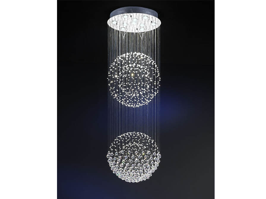 Estratos Pendant Lamp 2 Balls 10xGU10 LED 7W bright chrome/Glass Asfour