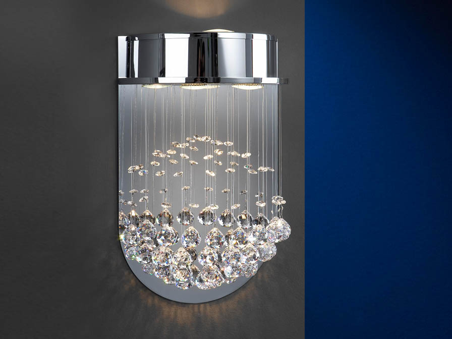 Estratos Wall Lamp 3L bright chrome/Glass Asfour