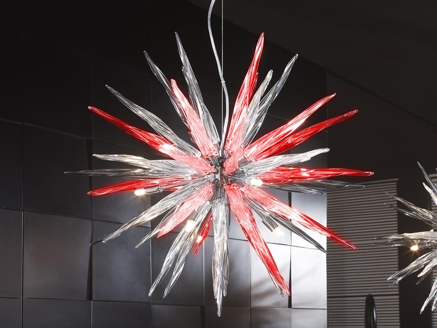 Urano Pendant Lamp 9L Trasparente/Rojo