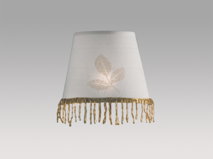 lampshade pin round white/fringe Gold