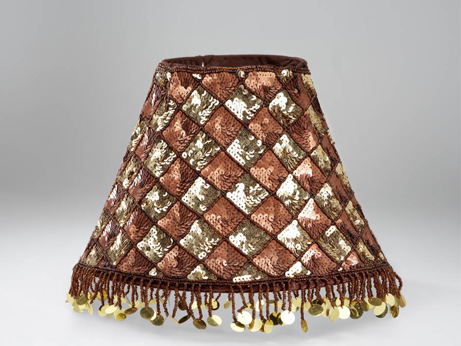 lampshade E27 Lentejuelas Gold/Brown