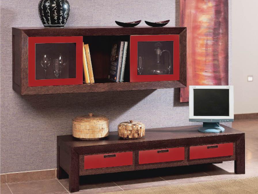 Zen Mueble Auxiliar alto Nogal/Granate