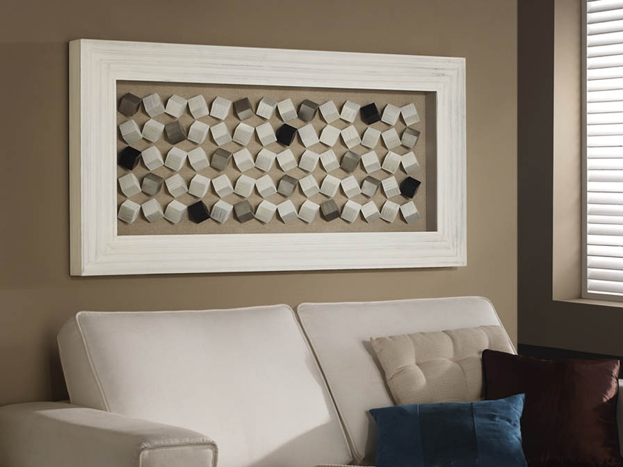 Cubic bas-relief rectangular white