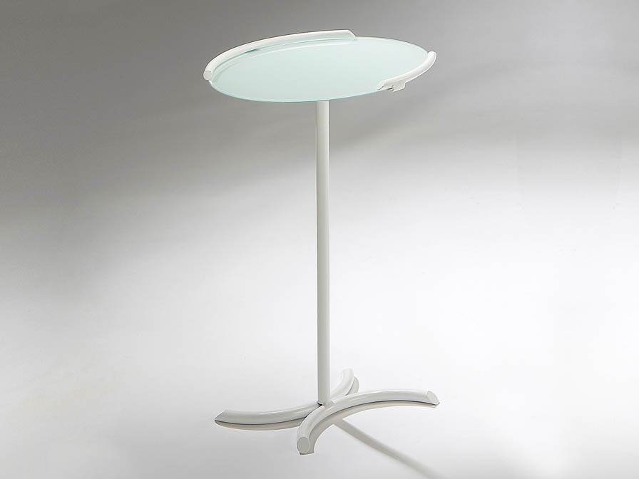 Snack small table auxiliaryy white Brillo + Glass white