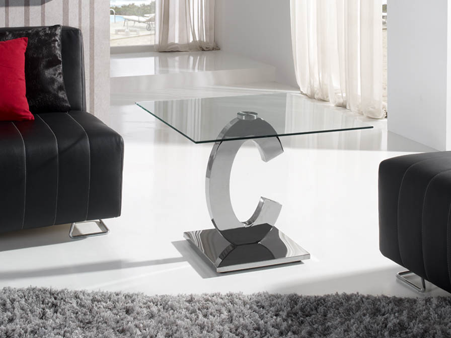 Calima corner table rectangular steel/Glass