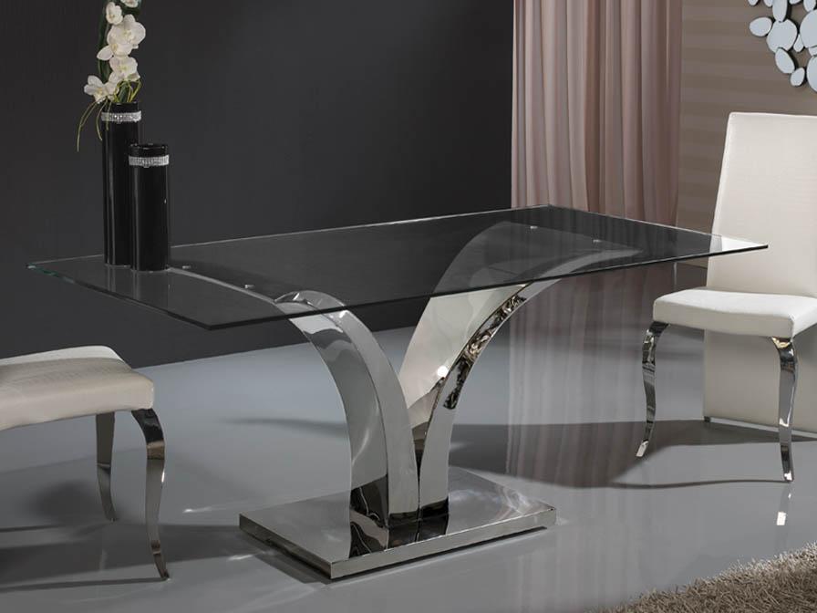Isabella table de salle à manger Inox/Verre 180cm