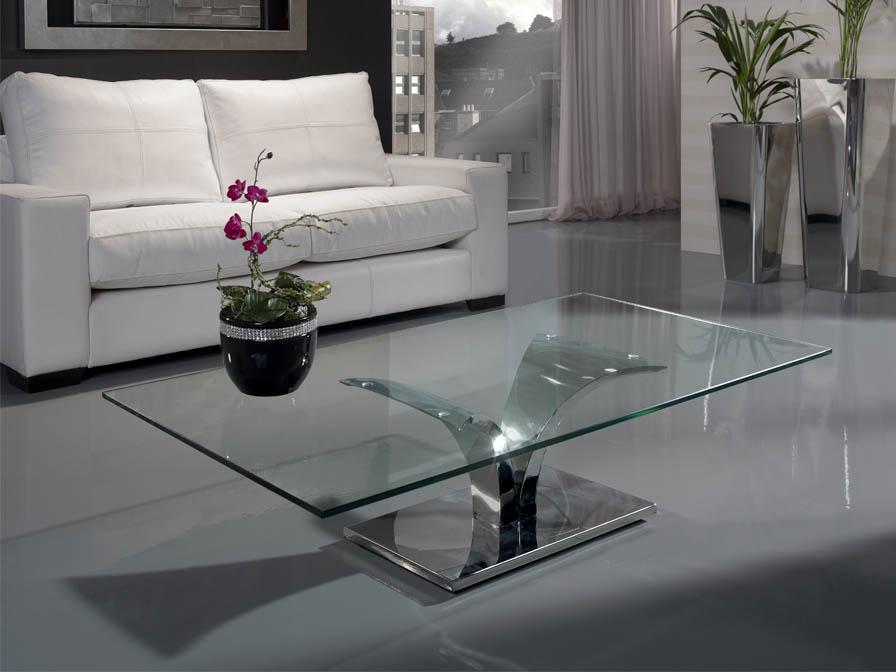 Isabella mesa de centro en acero inoxidable/Cristal
