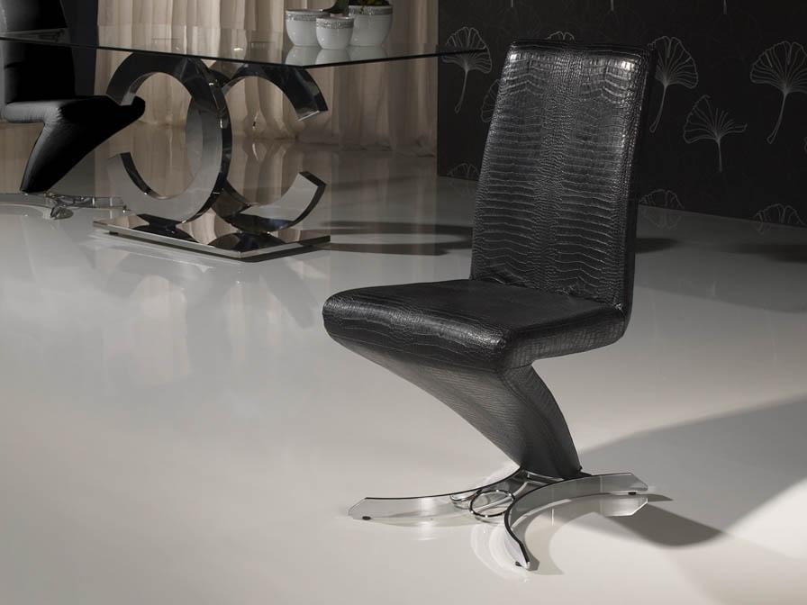 Boston silla metal Cromado/ Polipiel negro Cocodrilo