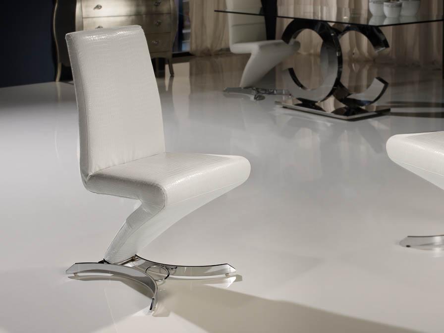 Boston silla metal Cromado/ Polipiel blanco Cocodrilo