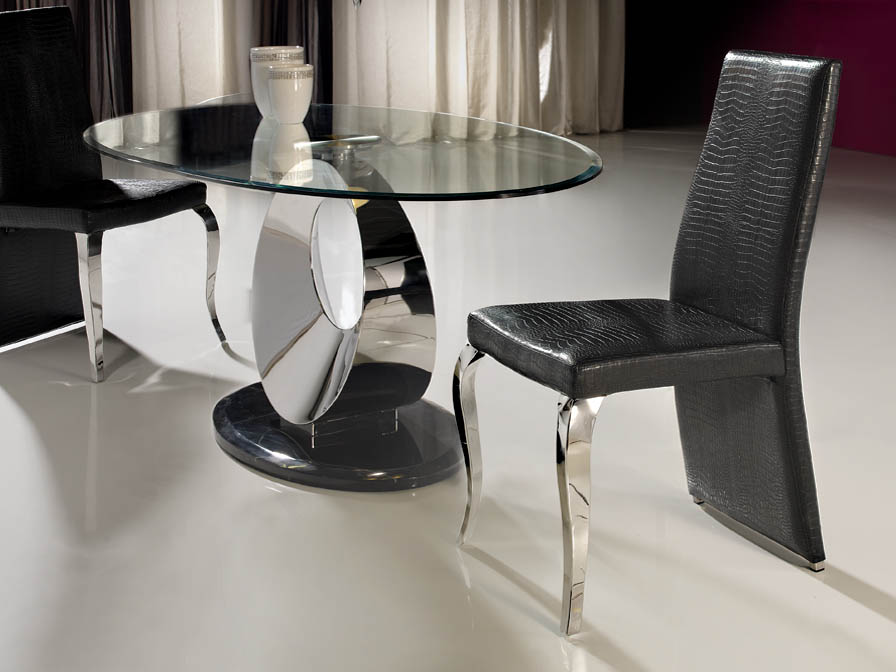 Greta silla acero Inox/Polipiel negro Cocodrilo