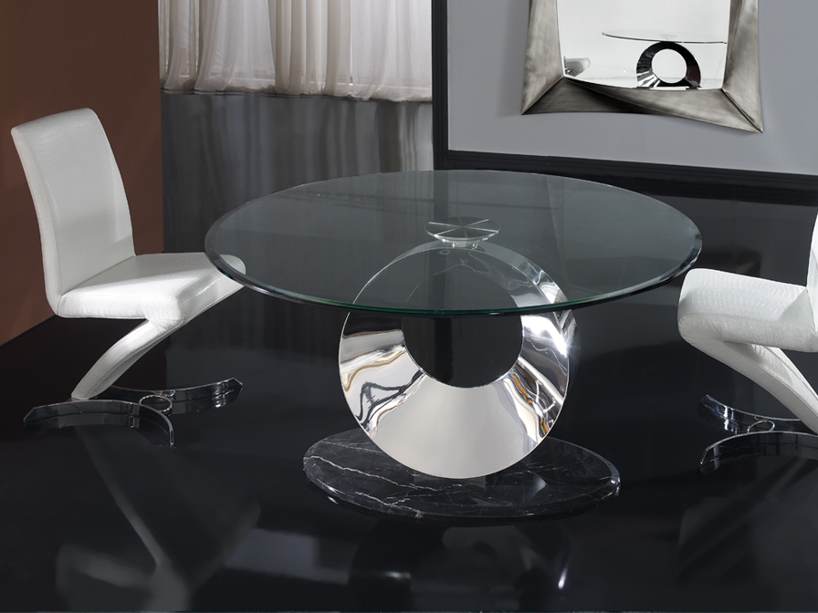 Luna dining table steel/marble/Glass Biselado + Glass oval 150cm