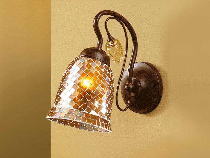 Gaudi Wandleuchte 1L Óxido schmieden + lampenschirm mosaik orange