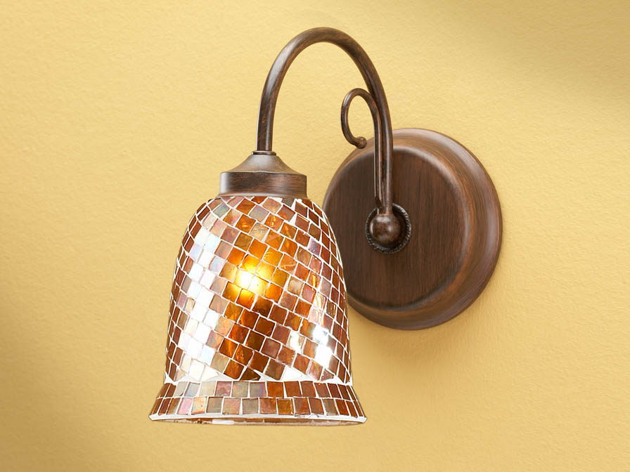 Wall Lamp 1L oxide forge + lampshade mosaic orange