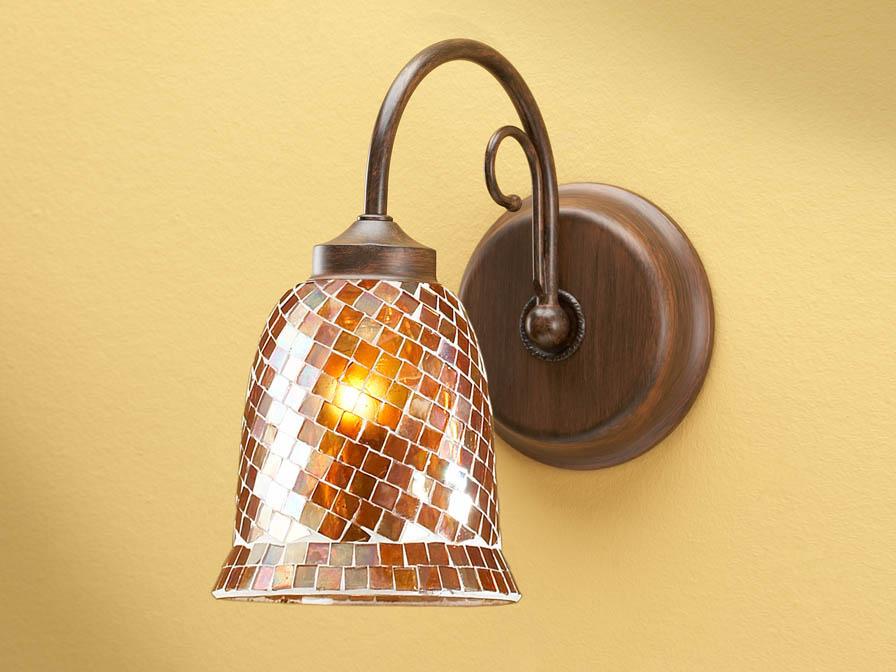 Luz de parede 1L óxido forge + abajur mosaico Cobre