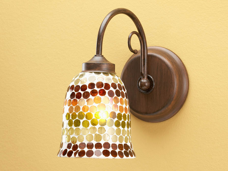 Wall Lamp 1L oxide forge + lampshade mosaic Green/Brown