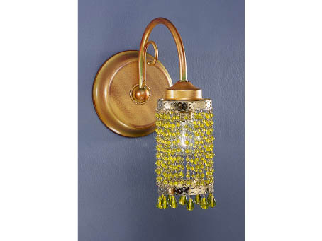 Wall Lamp 1L Gold Polichromed + lampshade Cuentas Glass Green