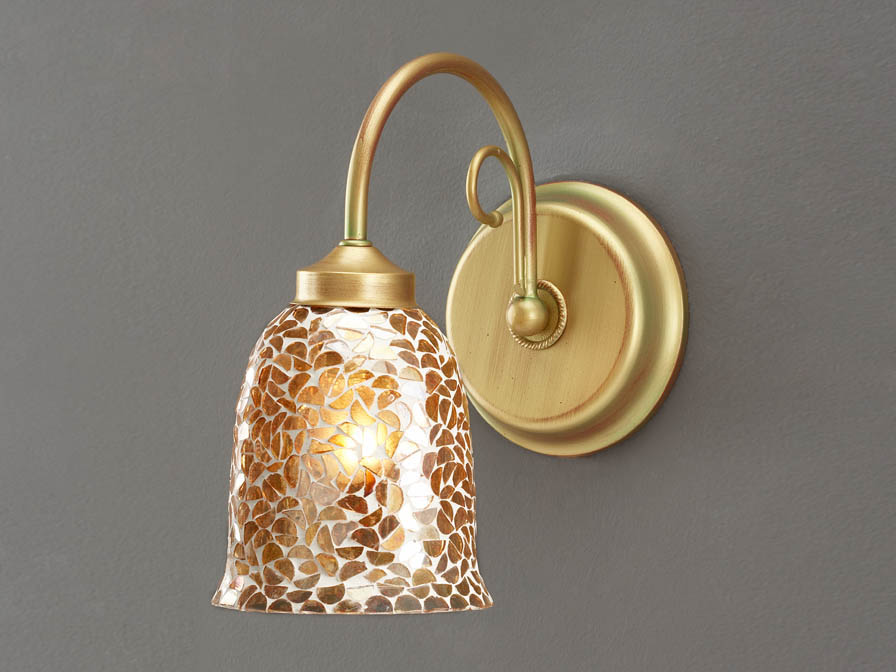 Wandleuchte 1L Gold PoliChrom + lampenschirm Copa mosaik Kupfer