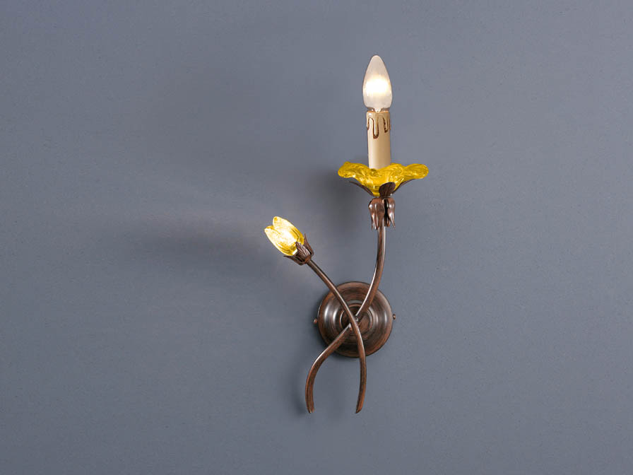 Rebeca Wall Lamp 2L left oxide forge/Glass Murano ámbar