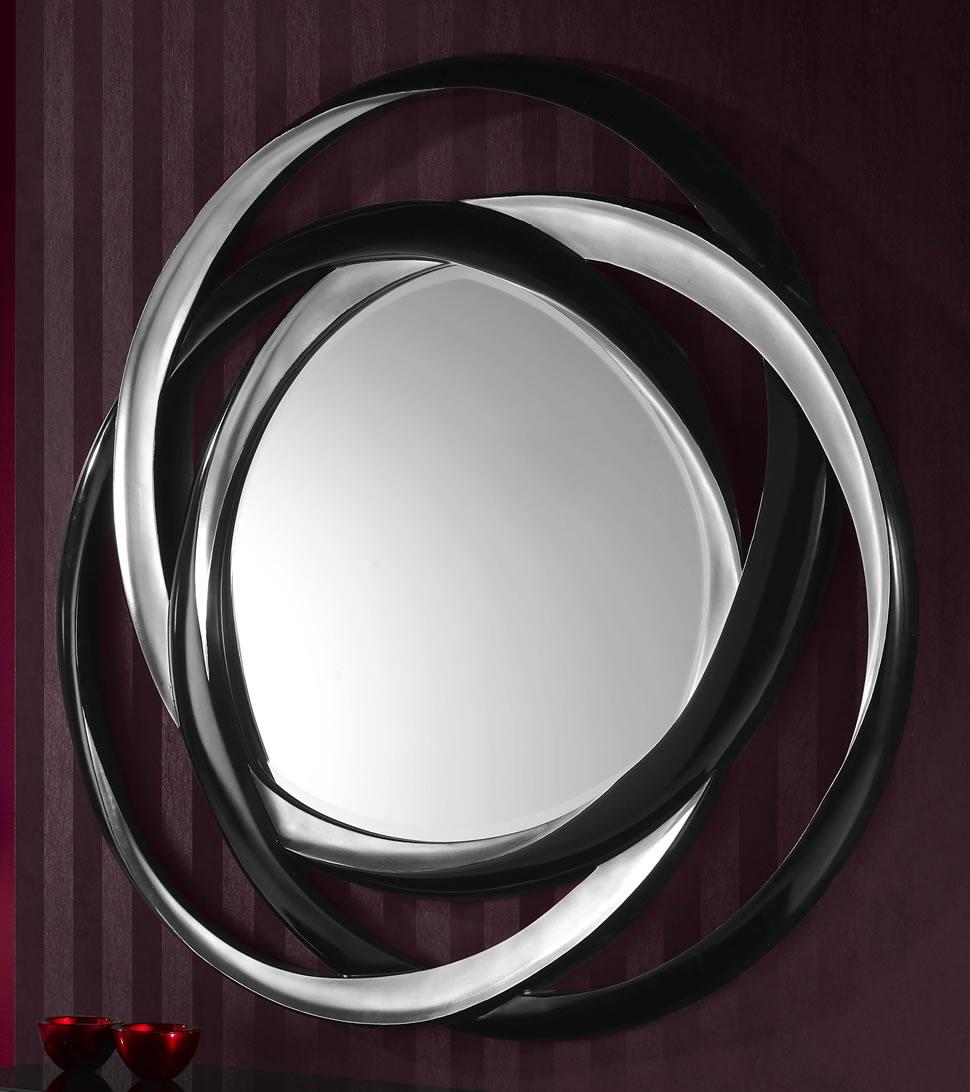 Nadine spiegel ø127cm Silber/Schwarz