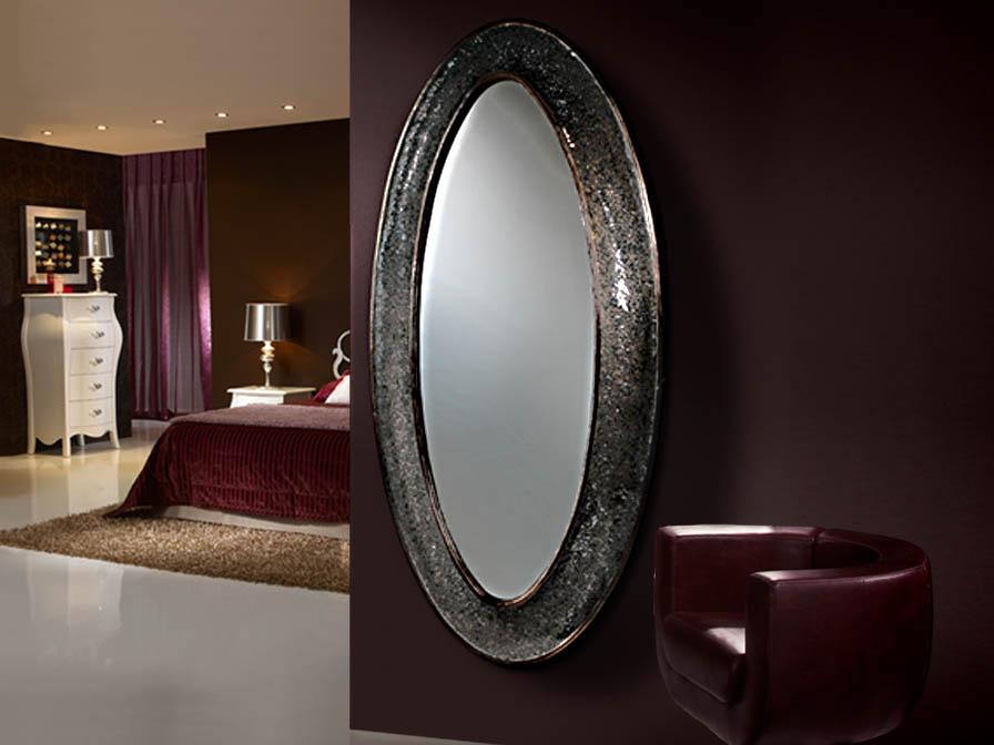 Gaudi espejo Ovalado vestidor negro perla