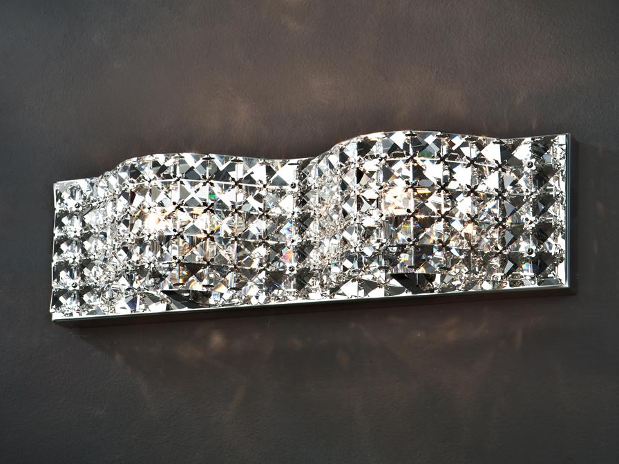 Onda luz de parede G9 2x42W Malha cristais facetados