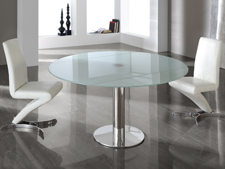 Alba Extendable dining table Stainless Steel/Glass hardened