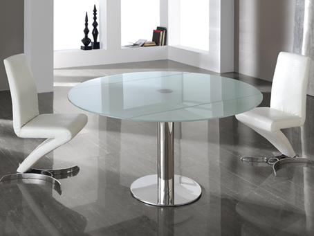 Alba Table à manger extensible Inox/Verre trempé