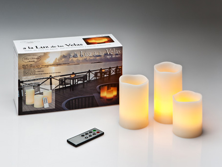 Vela LED Set 3 with remote to Distancia Velas LED