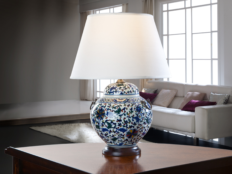 Table Lamp porcelain C lampshade