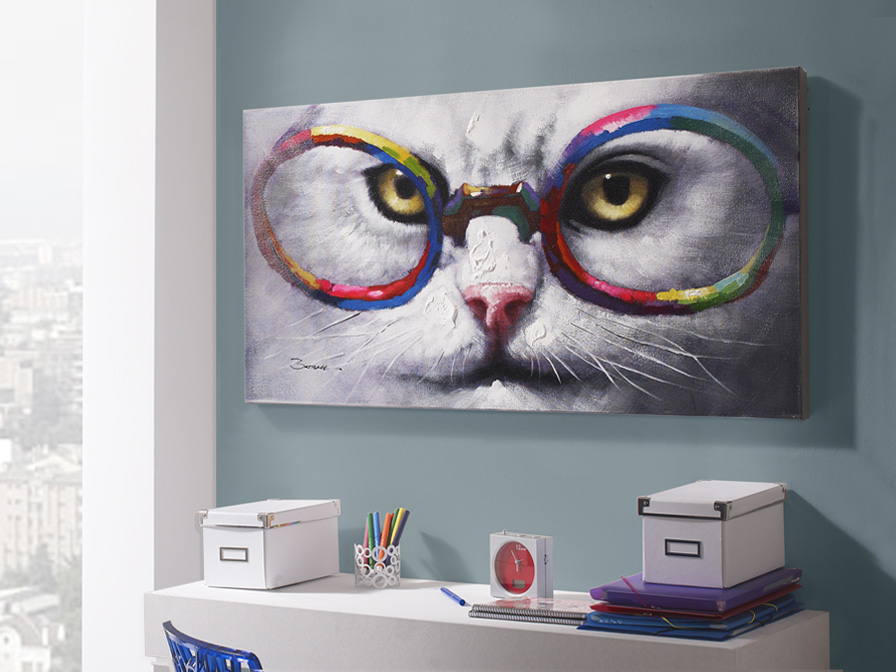 Gato con gafas Cuadro acrilico C Gafas 120x60