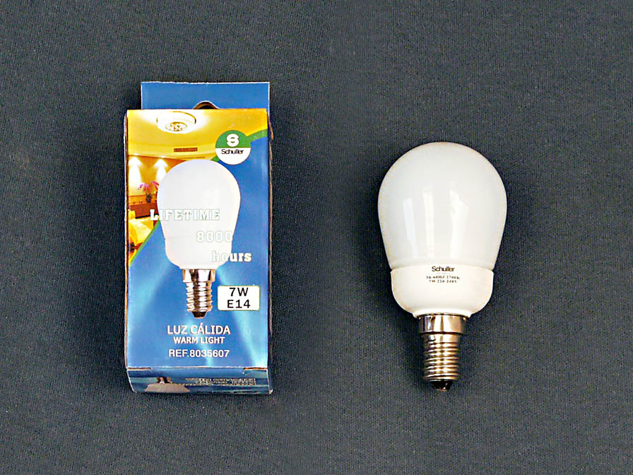 Fluorescent energy saving light bulb opal E14 Mini Globo 7W 3000Kº