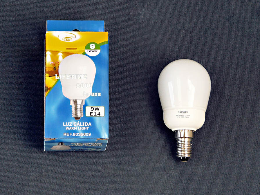 Fluorescent energy saving light bulb opal E14 Mini Globo 9W 3000Kº