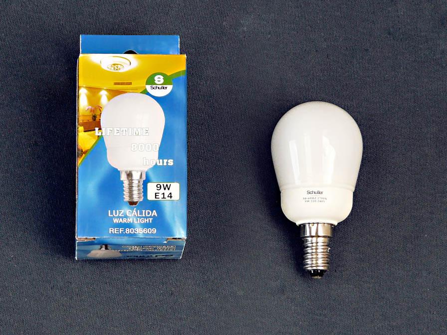 Bombilla bajo consumo Fluorescente opal E14 Mini Globo 9W 3000Kº