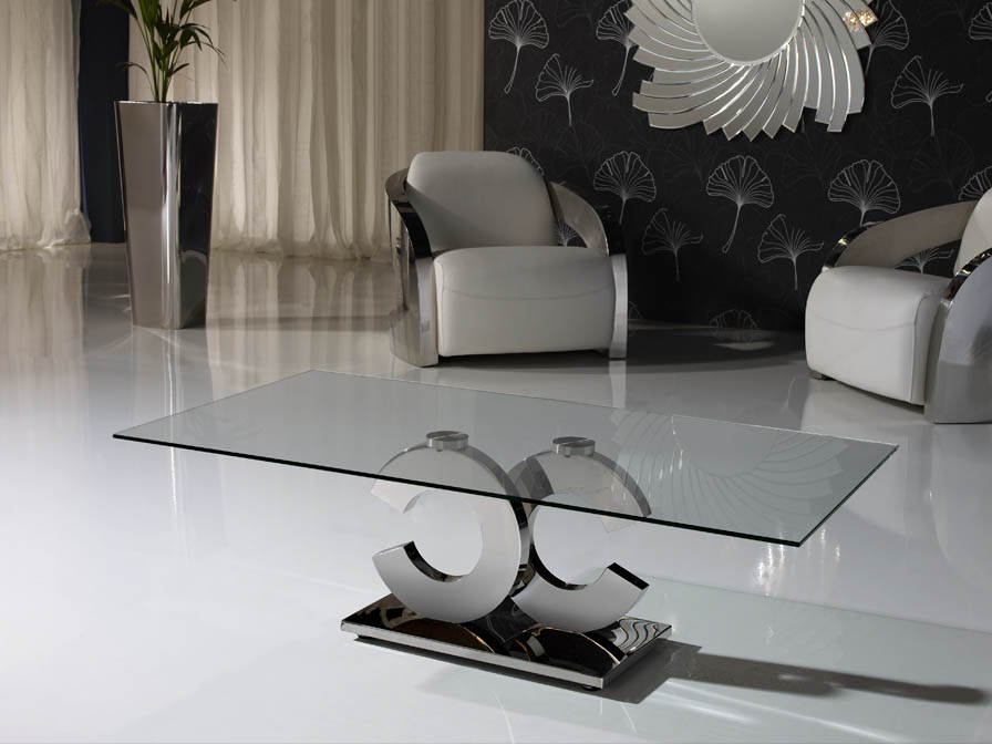 Calima coffee table rectangular steel/Glass