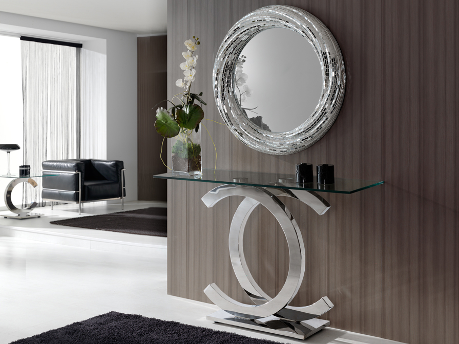 Calima console Stainless Steel Glass